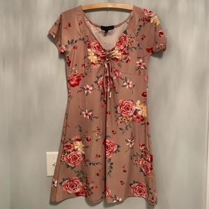 Women's Floral Dress with Cinching Tie at the bust